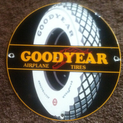 Porcelain Goodyear Airplane Tires Sign