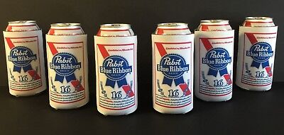 Pabst Blue Ribbon PBR Beer Koozie 16 oz Tall Can Cooler Coozie - 6 PK. NEW & F/S