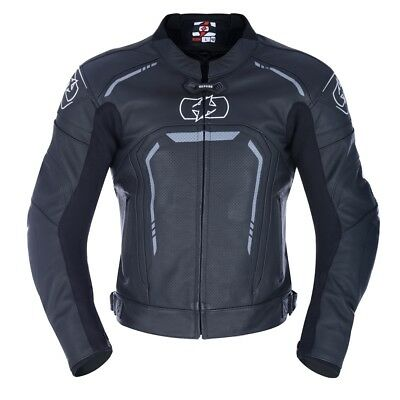 Oxford Strada Men's Leather Motorcycle Motorbike Sports Jacket - Stealth Black