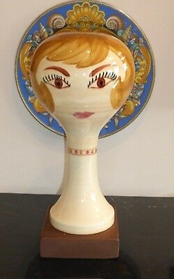 Stangl Pottery Vintage Wig Stand Head Of Lady On Wood Base