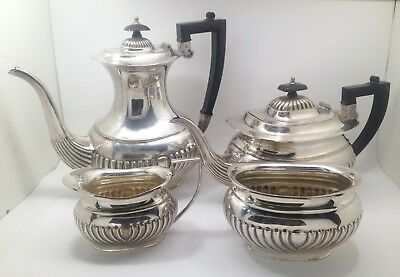 4 Piece Silverplate Made In Sheffield England Tea Set