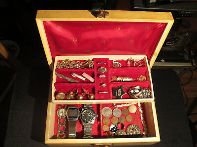Junk Drawer Lot estate sale old jewelry box old coins watches sterling tie clips