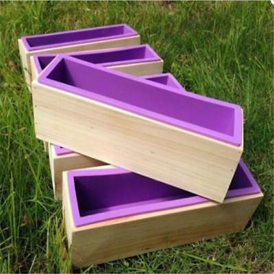 Rectangle Wood Loaf Soap Mould with Silicone Mold Cake Making Wooden Box JA