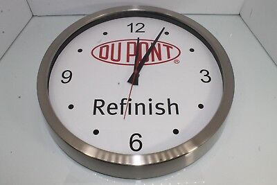 "DUPONT Refinish Chrome Stainless Steel Clock Shop Clock Paint Clock 13.5"" Wide"