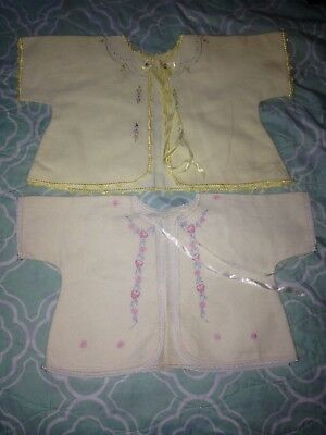 Vintage Baby Layette Shirts With Embroidery