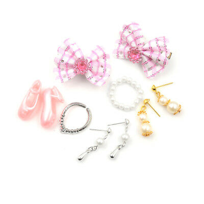 Jewelry Necklace Earring Comb Shoes Crown Accessory For Barbie Dolls Set STDE