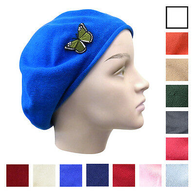 Cotton Beret Women s Stylish Ladies Hat w Green Butterfly Beanie Great  Colors 3aec0696298c