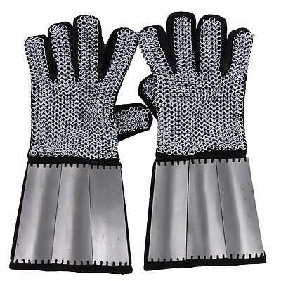 Knights Medieval Holy Land and Defender Chainmail Gauntlets with Plates