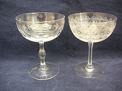 2 different  Champagne/Cocktail Glasses clear  vintage