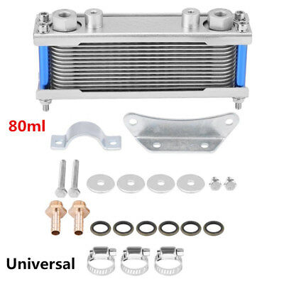 Silver Universal Oil Cooler Upgrade Motorcycle Engine Cooling Radiator 50-200cc