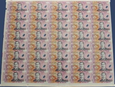 New Zealand: 1999 Polymer $50 Brash RARE UNCUT SHEET of 40. Only 100 ISSUED!