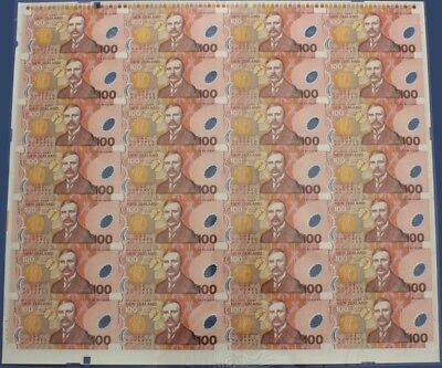New Zealand: 1999 Polymer $100 Brash RARE UNCUT SHEET of 28. Only 100 ISSUED!