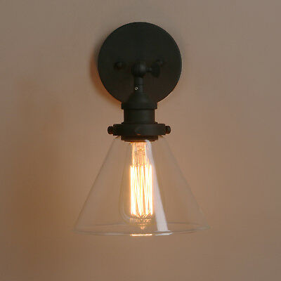 HOT VINTAGE INDUSTRIAL Funnel Sconce Glass Wall Lamp Antique Chrome ...