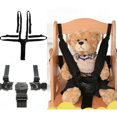 Baby Kids 5 Points Safety Harness Stroller High Chair Pram Car Belt Strap Black