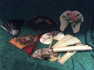 Job Lot Of Hand Held Vintage Fans  (mixed age & Condition) Highly Decorative