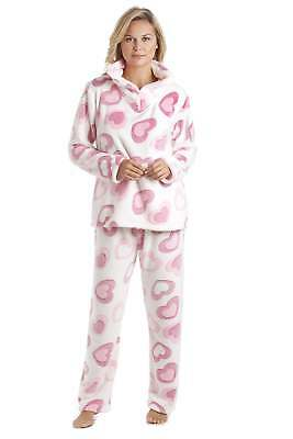 728b8ff2 Camille Womens Nightwear White Supersoft Fleece Pink Heart Print Pajama Set