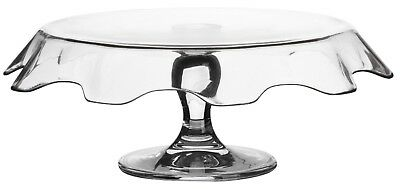 Pasabache Large 32cm Glass Cake Stand on Pedestal With Frill Down