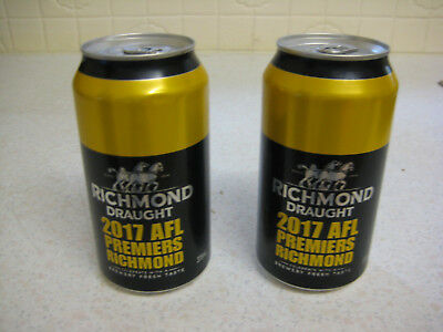 2 Richmond Tigers Carlton Draught Premiership Cans 1 Unopened + 1 Bottom opened