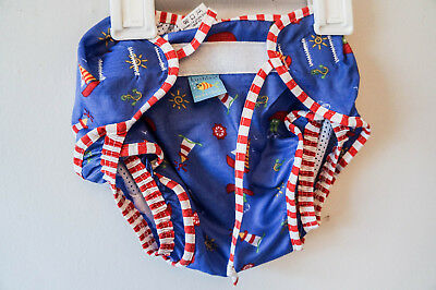 KUSHIES SWIM NAPPY - Large, cloth, reusable, washable, blue - new