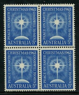 1963 Christmas 5d Blue *BLOCK OF 4* MUH SG 361 901