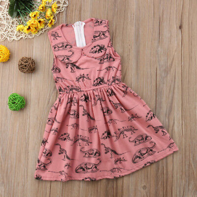 Cute Dinosaur Toddler Kids Baby Girls Dress Sundress Summer Casual Clothes 0-5T