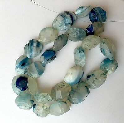 Natural Blue Chalcedony Hammered Rough Gemstone Coin Beads 13-20mm 20 Inch RG13