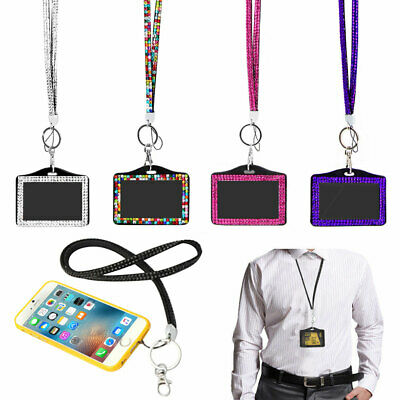 Rhinestone Crystal Lanyard And ID Badge Holder For Photo ID Cards