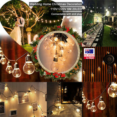 AU 6M 20 LED Outdoor Fairy String Light Globe Party Christmas Holiday Decor Lamp