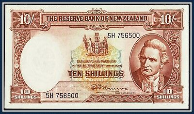 New Zealand 10 shilling Banknote Fleming 1956-1967 5H-756500 P-158d