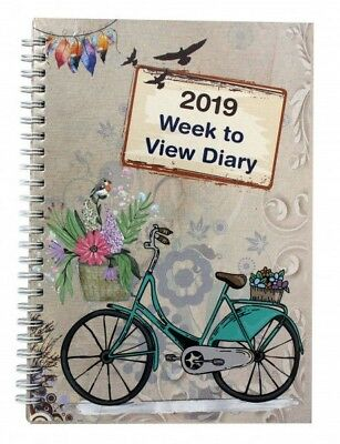 2019 A5 Week to View Diary Vintage Bicycle Design Spiral Bound Diary ST-2244