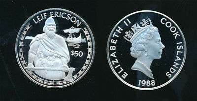 Cook Island: 1988 $50 Explorer- Leif Ericson .925 silver Proof Face value=A$44