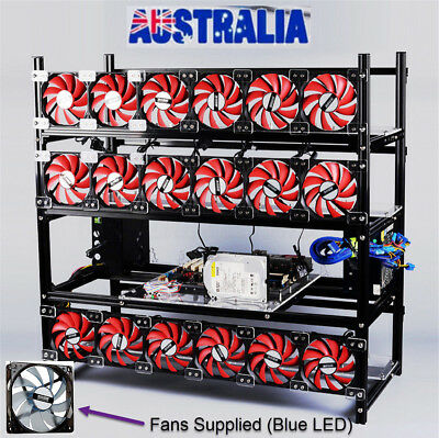 New 19 GPU Mining Miner Rig + Fans Stackable BitCoin Best $$ OZ PC Computer Soft