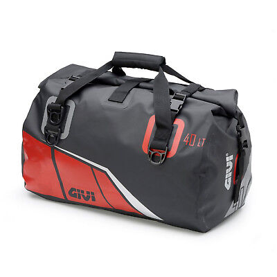 Givi EA115BR Waterproof Cylinder Seat Bag Reflective Roll Down Bag - Black/Red