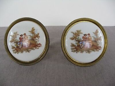 Pair vintage porcelain/brass drape/drapery screw-in hold back/ tie back