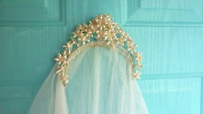 Antique French Bridal Veil Crown of Wax Flowers Perfect Condition Free Shipping
