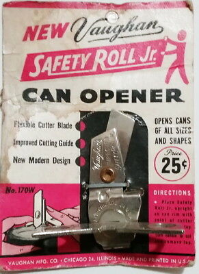 Vintage New Vaughan Safety Roll Jr. Can Opener on Red Card