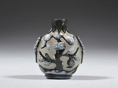 Antique Chinese Peking Glass Snuff Bottle with Plum Trees