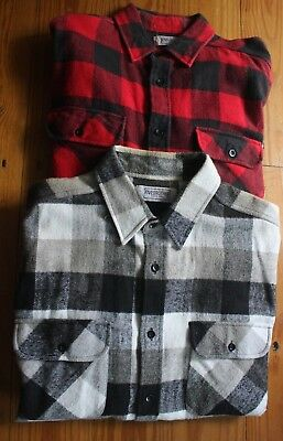 Vtg Five Brother Heavy Flannel Work SHIRTS LOT OF 2 Plaid Mens LARGE USA Made