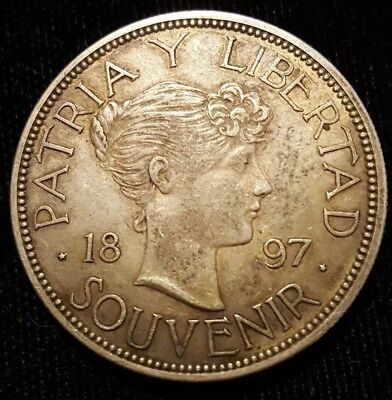 ERROR 1897 Souvenir peso machine doubling and missing top of E caribbean caribe