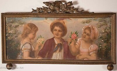 Antique Victorian Oil Painting of Three Children w/ Flowers in Brass Frame, Nice