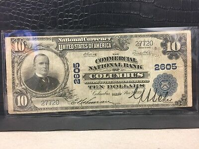 ~1902 Ten Dollar National Currency Note, Commercial National Bank Columbus Ohio~