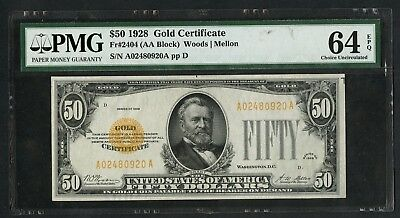 Fr2404 $50 1928 Gold Note Pmg 64 Epq -- Very Choice Unc -- Wlm5720