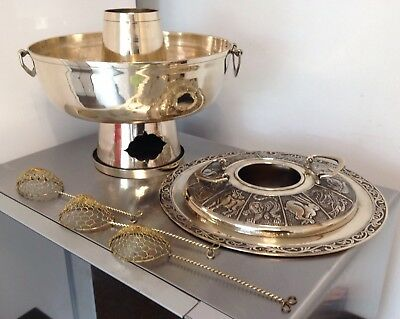 Antique Korean Signs Zodiac Brass Hot Pot Fondue Soup Dumpling Warmer +3 Spoons