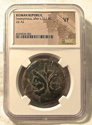 NGC CH.VF Roman Republic Anonymous After c.211 BC AE As Obv Double-Head of Janus