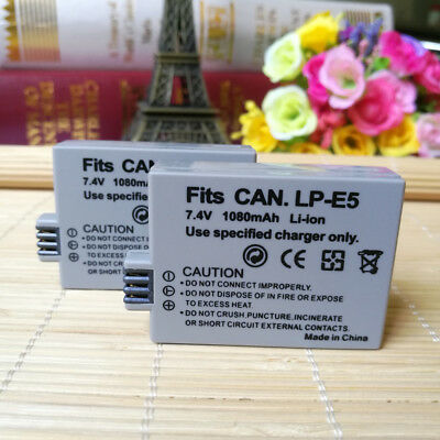 TWO(2) Battery for Canon Rebel XS, Xsi, 450D, EOS 1000D, EOS Kiss X3, LPE5