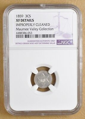 1859 Three Cent Silver NGC XF Details