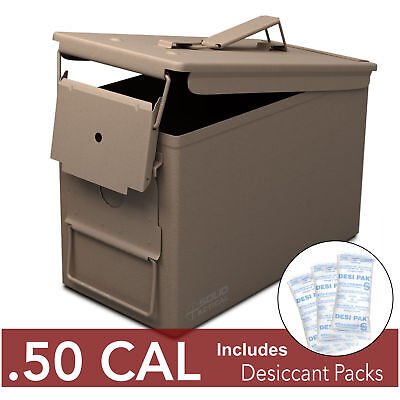 Solid Tactical 50 Cal Ammo Can Steel Ammo Box Military & Army M2A1 Storage Brown