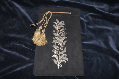 Old Metallic Embroidery On Black Velvet Turkish Tulip Ornamented Album
