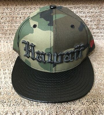 992995ebd7a5 808 AllDay OE Camo/Black Leather Hat New Era SnapBack Fitted Hawaii Farmers
