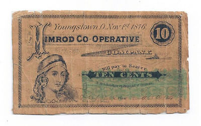 1876 Himrod Co-Operative Co., Youngstown, OH - Ten Cent Obsolete Note - Rare